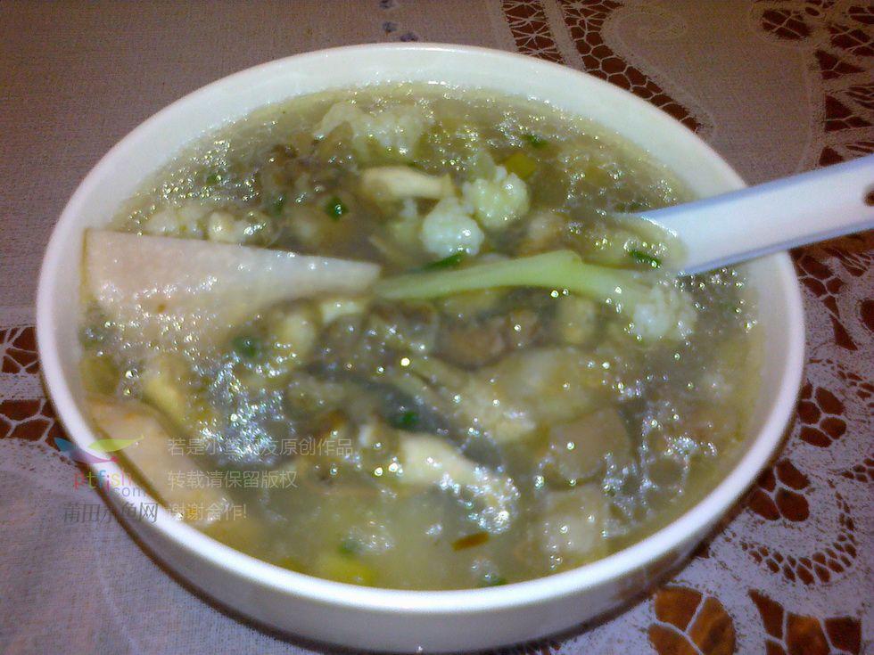 老妈做的海蛏花菜芋头汤