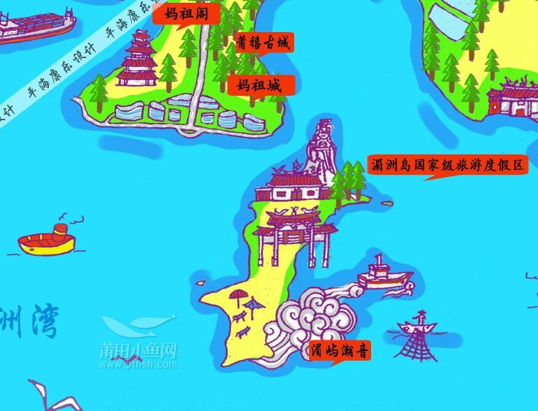 一组手绘莆田旅游地图,一起来找找身边的景点!