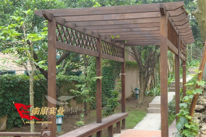 莆田高档小区 私人别墅花园绿化景观防腐木花架,防腐木凉亭