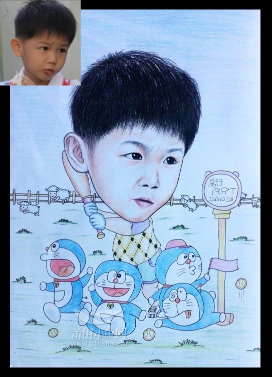 手绘孩子拜年图