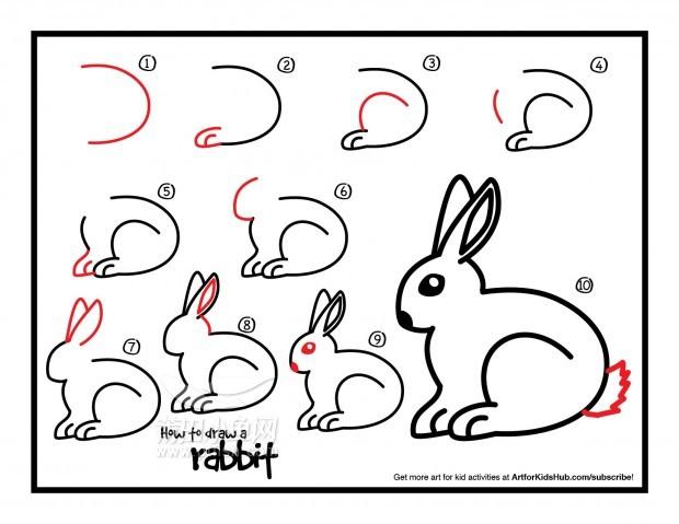 步骤图,请看这里; 儿童简笔画——如何画一只兔子