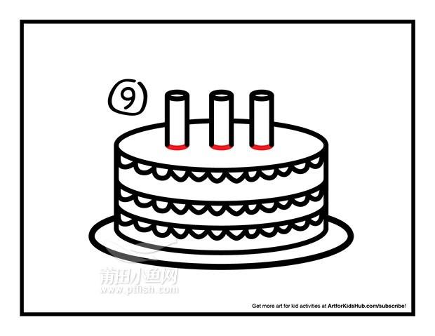 爱心生日蛋糕简笔画内容图片展示