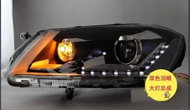 新迈腾改装氙气双光透镜LED泪眼大灯总成高清图片
