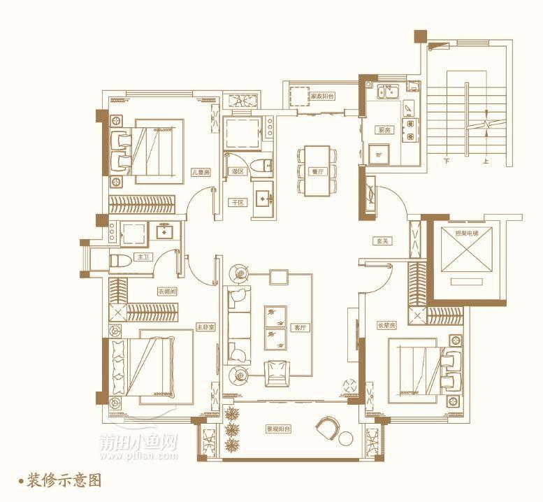 建筑面积约120㎡三房两厅两卫