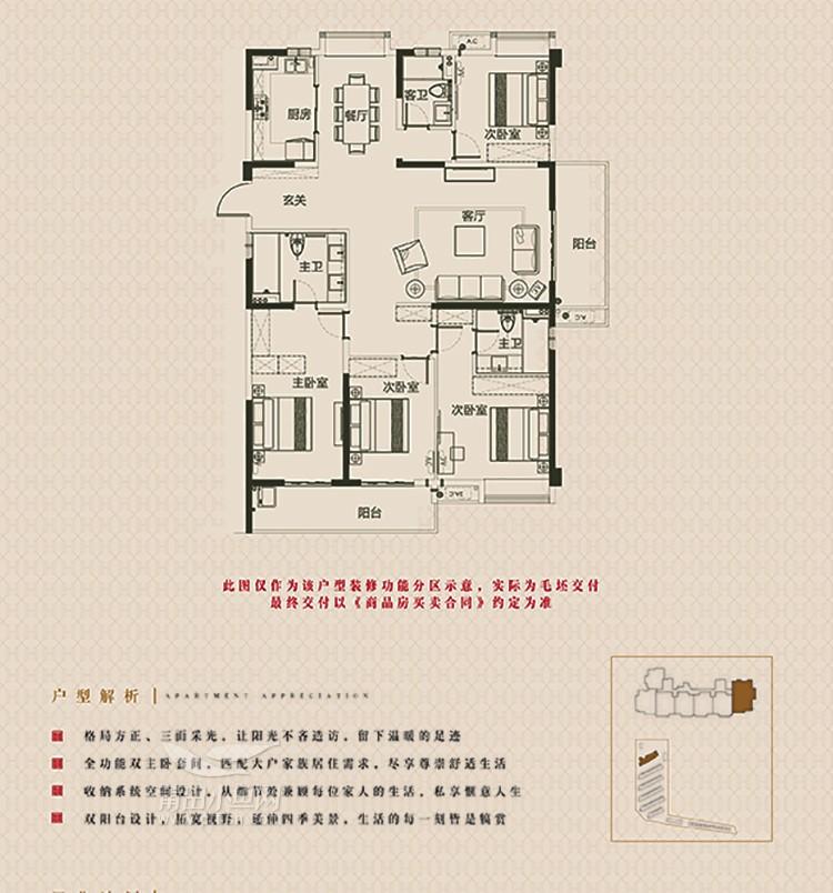 1#06户型建面约190㎡(4房2厅3卫)